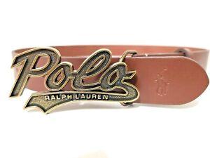 POLO RALPH LAUREN SCRIPT Plaque Brown Leather Belt Size 42 NWT