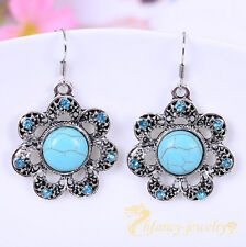 Hot Classical Turquoise Stone Natural tibet silver Hook Crystal flower earrings