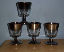 (4) VTG BARWARE DOROTHY THORPE STYLE BRANDY WHISKEY GLASSES SILVER FADE 4 1/4