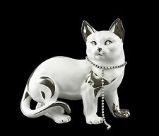 22x12x20cm IN CERAMICA CERAMIC Porcellana Gatto Cat Kitty Swarovski PLATINO ITALY