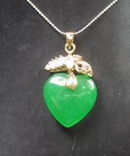 Gold Plate Green JADE Pendant Love Heart Diamond Imitation Necklace 287212