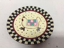 Country Farm Wood Wall Art Display Checkered Animal Quilt Chicken Red Trim Plate