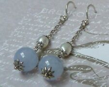 Vintage Sterling Dangle Earrings with Blue Chalsedony Beads, Konder #989