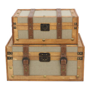 Vintage Style Wooden Industrial Storage Trunks Honey w/ Seagrass Box