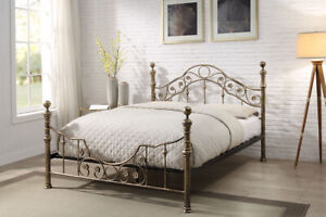 Antique Style Metal Bed Frame Brushed Brass Finish Double King Size Bed