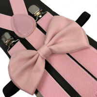 Awesome Wedding Light Pink Wedding Accessories Adjustable Bow Tie & Suspenders