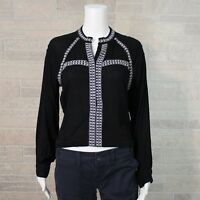 NEW Honey Punch Misses SMALL Black White Embroider Cropped LS Shirt Peasant Boho