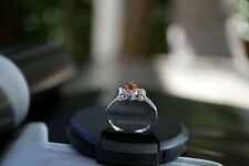 Tourmaline Bow Ring Silver Plated White Delicate Ring Stacking Ring Pink Orange