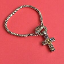 SAMUEL BEHNAM BJC STERLING SILVER AND 18 K GOLD CROSS TOGGLE BRACELET