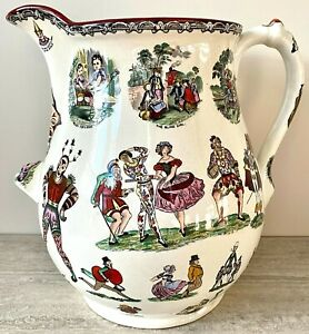 Elsmore & Forster Harlequin Pitcher – Exceptional Size – Victorian Circa 1865