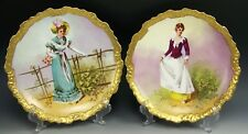 PAIR 2 LIMOGES HAND PAINTED LADIES PORTRAIT PLAQUES CHARGERS ARTIST SIGNED