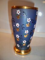 VINTAGE GLASS BLUE WITH BEAUTIFUL RAISED FLORAL DESIGN AND GOLD-TONE TRIM  5 3/8