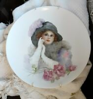 Antique Holiday Bavaria Germany Plate Hand Painted Flapper Woman Girl & Hanger