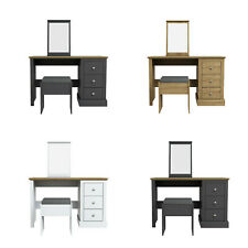 Chloe Dressing Table Wooden Makeup Desk + Mirror + Stool Storage Bedroom Drawers