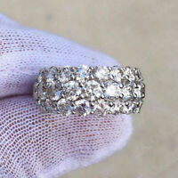 14k White Gold Finish 5.00 Ct Round Cut Diamond Wedding Band Ring For Women's