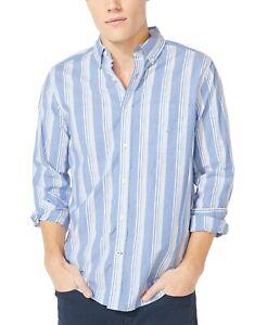 New Nautica Men's Medium Sapphire Striped Classic Fit Stretch Button Down Shirt