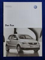 VW Fox - Technische Daten & Ausstattungen MJ 2006 - Prospekt Brochure 12.2005