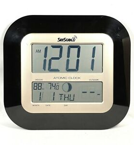 SkyScan Atomic Wall Clock Digital Temperature and Weather Wireless 88905Black