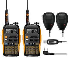 2* Baofeng GT-3 MarkII + 2* Speaker+ 1*USB Cable 136-147/400-520Mhz 2-way Radio