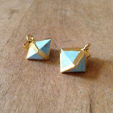 Small Turquoise Octahedron Pendant - 24K Gold Plated Gemstone - Jewelry