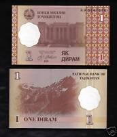 World Paper Money - Tajikistan 1 Diram  @ Crisp UNC