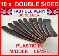 10 DOUBLE SIDED 100/180 GRIT BOOMERANG/BANANA CURVED NAIL FILES UK EMERY BOARD
