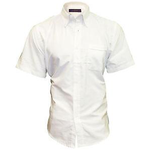 Henbury Men's Short Sleeve Classic Oxford Shirt Wrinkle Resistant New