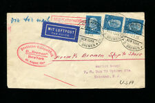 Catapult Cover 1929 Grau K3d Germany Seapost  w/ Good Multiple Franking