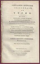 Tentamen Medicum Inaugurale De Typho, Edinburgh, 1776