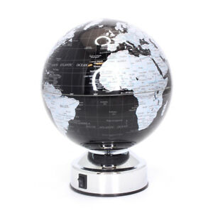 Black and Silver Battery Operated Vintage Style Rotating Globe LP41201