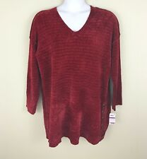 STYLE & CO Women's Chenille V-Neck Sweater, Cranberry, Size XXL, NWT