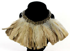 LANVIN Beige Rooster Feather Gold & Silver Chain Statement Necklace