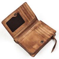 Men Women Genuine Leather Bifold Wallet Clutch Coin Purse Card Case Vintage
