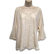 Chico's Gorgeous Cream Linen Blend Jersey Knit Top Lace Trim Split 3/4 Slvs 2 L