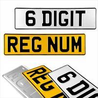 6 Digit Short 420x110 Pressed number plates metal embossed car van UK Road Legal