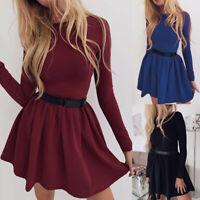 Women Fashion Pleated Casual Mini Dress Slim Crew Neck Long Sleeve Dresses 2 Wn