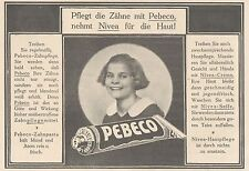 Y4220 Zahnpasta PEBECO - Pubblicità d'epoca - 1925 Old advertising