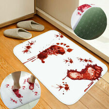 Halloween Red Blood Bath Bathroom Mat Bloody Footprint Horrible Anti-slip Rug