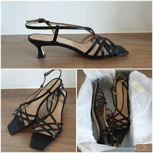 NEW Trenery CR Rachel Midi Heels Size 39 EU Strappy BLACK Shoe RRP$179