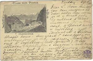Switzerland 1890 10c. Gruss vom Pilatus stationery card used with hotel cachet