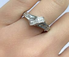 14k Solid White Gold Knot Ring With Genius Princess Diamond 0.60 CT, Sz 7. $1399