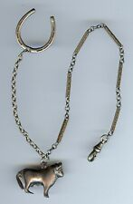 VINTAGE SILVER BULL & HORSESHOE WATCH FOB