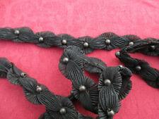 Galon ancien (1900) noir coton et soie 1,7 m x 2,2 cm