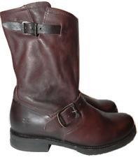 $298 Frye Veronica Shortie Slouchy Boot Brown Leather Moto Biker Booties 9.5