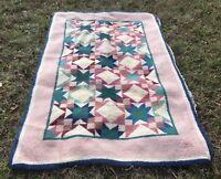 Vintage Wool Hook Rug in Quilt Pattern Pink Multi 40x62 Estate Find As Is