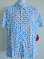 Toes On The Nose Shirt New Size Small Blue White Print Button Front Polyester