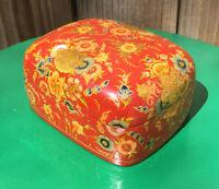 Vintage Gilded Flora Handmade Hand Painted Paper Mache Trinket Box Kashmir India