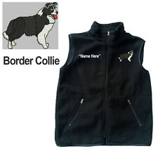 Border Collie Dog Fleece Vest with Zippers Personal Name Stitched Monogrammed