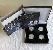 Sierra Leona 2006 joyas de la corona 4 X $10 plata prueba de conjunto con piedras preciosas