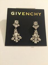 $45 Givenchy Murray Silver Tone Crystal Earrings #716B
